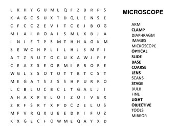 Compound Microscope Hidden Word Search