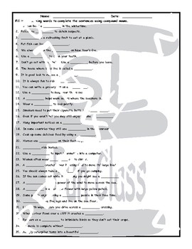 Compound Nouns 1 Page BW Worksheet