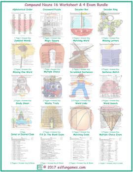 Compound Nouns 16 Worksheet- 4 Exam Bundle