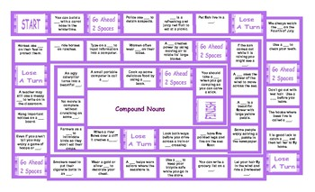 Compound Nouns Legal Size Text Board Game