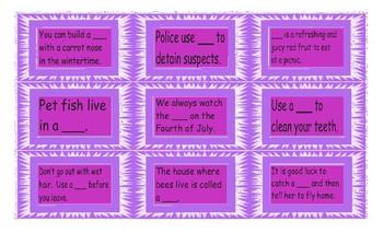 Compound Nouns Legal Size Text Card Game