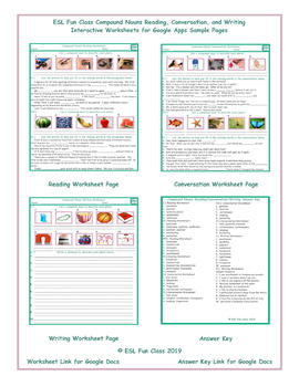 Compound Nouns Read-Converse-Write Interactive Worksheets for Google Apps