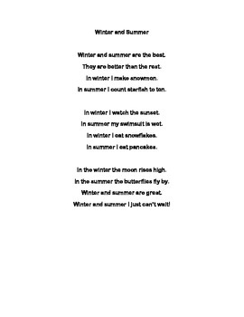 Compound Poem- winter and summer