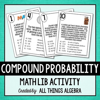 compound probability math lib by all things algebra tpt. Black Bedroom Furniture Sets. Home Design Ideas