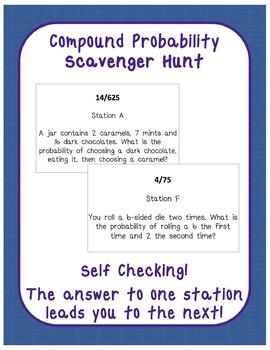 Compound Probability Practice Scavenger Hunt Activity FREEBIE