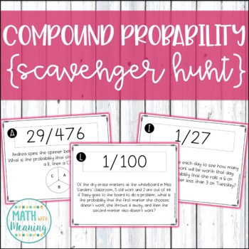 Compound Probability Scavenger Hunt Activity - Aligned to