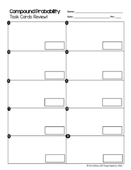 compound probability task cards by all things algebra tpt. Black Bedroom Furniture Sets. Home Design Ideas