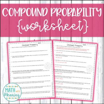 Compound Probability Worksheet Aligned To Ccss 7sp8 By Math With