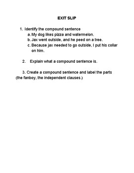 Compound Sentence Exit Slip..3 Levels Identify, Explain, & Create