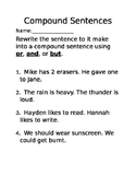 Compound Sentence Practice - And, But, and Or