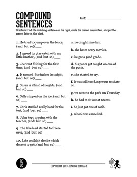 Compound Sentence Practice by Designed4Teaching | TpT