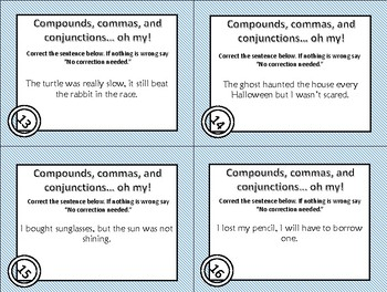 Compound Sentence Revising and Editing Task Cards