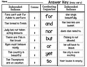 Compound Sentence Sort, Set 2