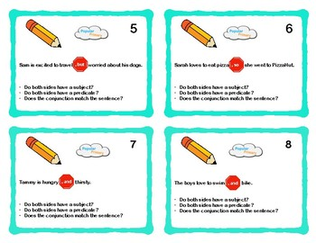 Compound Sentence Task Cards Using Comma and Conjunction Free