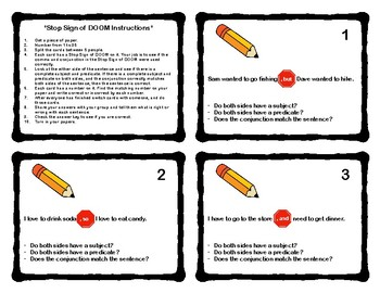 Compound Sentence Task Cards Using Commas and Conjunctions (Stop Sign of  DOOM)