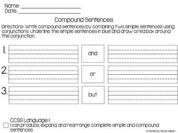 Compound Sentence Writing Template {Freebie}