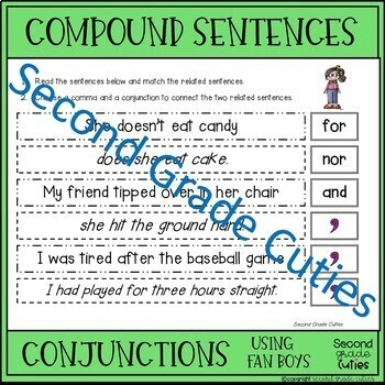 Compound Sentences Practice, Sorts, & Quizzes with coordinating conjunctions