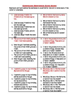 Compound Sentences Cards Game