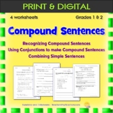Compound Sentences & Conjunctions - 3 worksheets - Grades