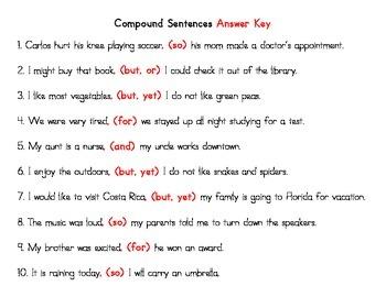 Compound Sentences Cut and Paste