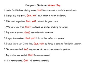 Compound Sentences Cut and Paste