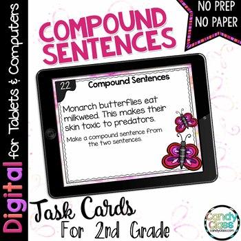 Compound Sentences Digital Task Cards for Google Use