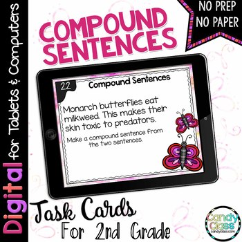 Compound Sentences Task Cards - Digital for Google Classroom Use