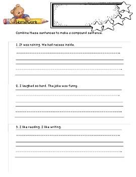Compound Sentences - Homework