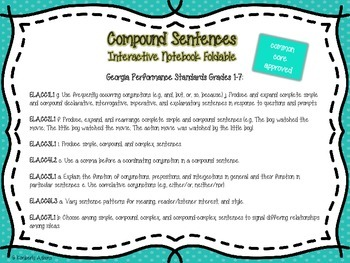 Compound Sentences Interactive Notebook Foldable (Grammar)
