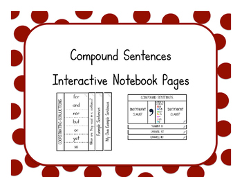 Compound Sentences Interactive Notebook Pages