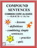 COMPOUND SENTENCES No-Prep Lessons, Worksheets, & Quiz