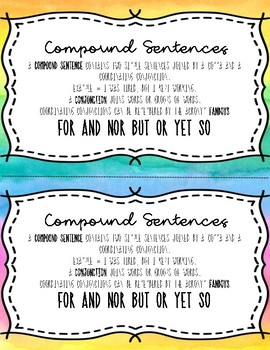 Compound Sentences Notebook Anchor Charts