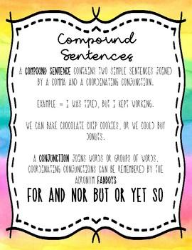 Compound Sentences Notebook Anchor Charts
