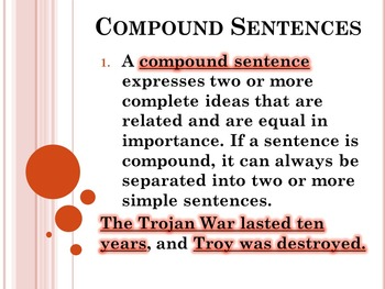 Compound Sentences PowerPoint Houghton Mifflin English 8