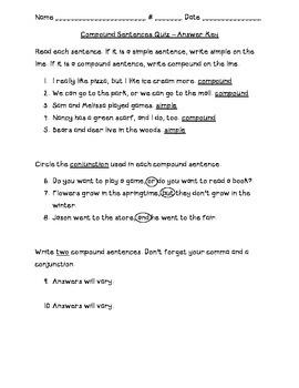 Compound Sentences Quiz