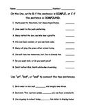 Compound Sentences Quiz Assessment Worksheet