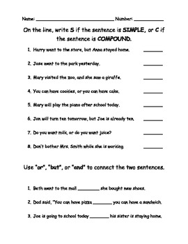 Compound Sentences Quiz Assessment Worksheet by TLTussing | TpT