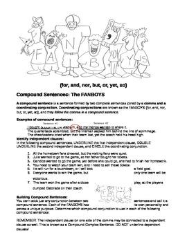 Compound Sentences - Sports Theme (FANBOYS)
