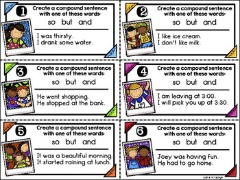 Compound Sentences - Task Cards {FREEBIE}