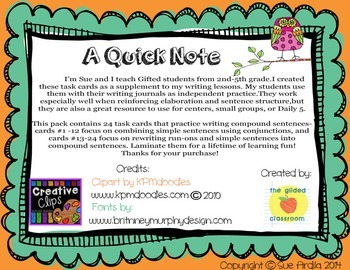 Compound Sentences Task Cards, Sentence Structure Practice, Common Core Aligned