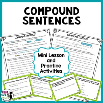 Compound Sentences Task Cards and Activities