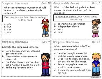 Compound Sentences Task Cards and Quiz