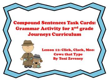 Compound Sentences Task Cards for Journeys Grade 2