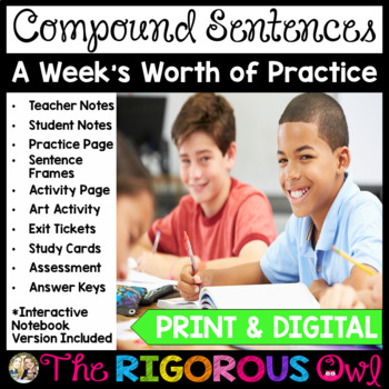 Compound Sentences and Conjunctions Lesson with a Week's Worth of Practice!