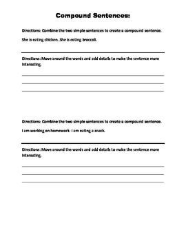 Compound Sentences- rearrange and expand
