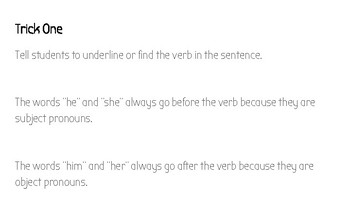 Compound Subject and Object Pronouns He/She/Him/Her Set