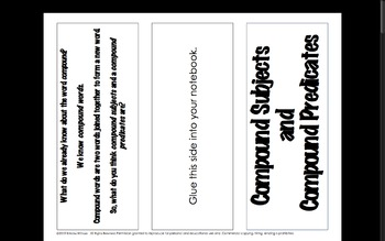 Compound Subject and Predicate Interactive Notebook Brochure