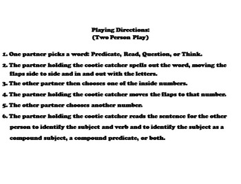 Compound Subject and Predicates Activity for 3rd, 4th, 5th, 6th Grade
