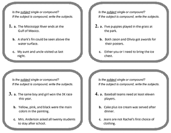 COMPOUND SUBJECTS & VERBS No-Prep Lessons, Worksheets,Task Cards, Quiz