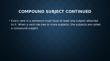 Compound Subjects PowerPoint